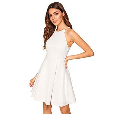 Imagem de Vestido rodado evasê plissado rodado evasê sem mangas com recorte da Romwe, Branco, X-Small