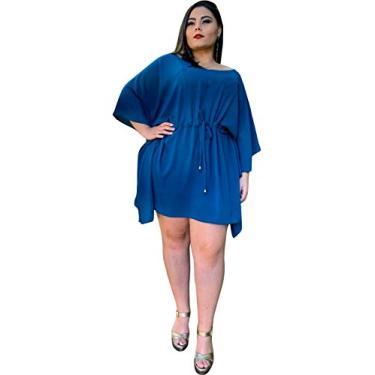 Vestido Curto Casual TNM Collection Plus Size Social Festa Várias Cores (Azul Turquesa, XGG)