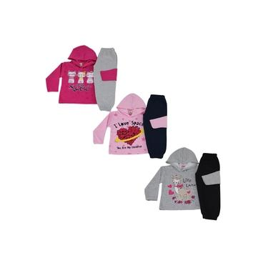 Kit 3 Conjunto Infantil Inverno Moletom Feminino Atacado Roupa Menina