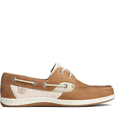 Sapato náutico feminino listrado Sperry Koifish Seersucker, Linen/Pink, 5