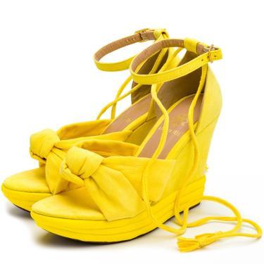Imagem de Sandália Feminina Anabela Salto Médio Em Camurça Amarelo Lançamento  feminino