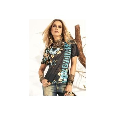 T-Shirt Tigrara Malha Crepada com Estampas Florais