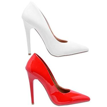 Kit 2 Pares Scarpin Casual Feminino Ellas Online Branco e Vermelho