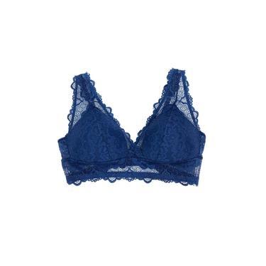 Sutiã Recco Top Triângulo Renda Azul Imperial Feminino