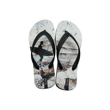 Chinelo de Borracha Pura Vida Surf Branco e Preto