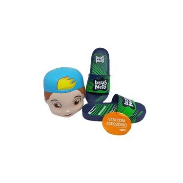 Chinelo Infantil Slide Luccas Neto Cofre Ipanema Grendene Azul/Verde