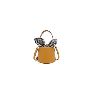 Simples bonito selvagem Fada Algemas de inclinao Bucket Bag pu ²nico Shoulder Bag Messenger Bag (amarelo)