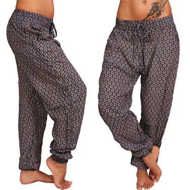 SAFTYBAY Calça feminina boho, calça harém de ioga com cintura franzida, calça harém tamanho grande, calça de praia de verão, calça boêmia (marrom, 3GG)
