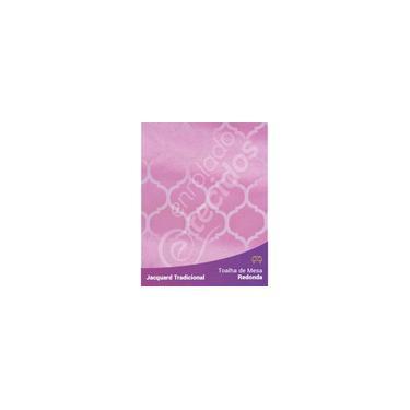 Imagem de Toalha De Mesa Redonda Em Tecido Jacquard Rosa Bebê Geométrico Tradicional
