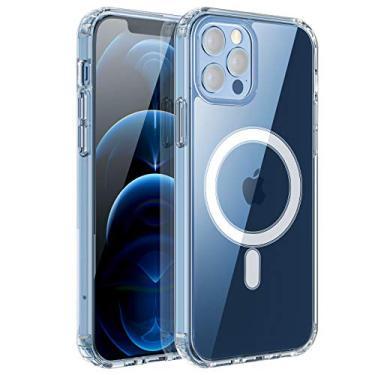 Capa magnética transparente RESTONE para iPhone 12 Pro Max Magsafe Charging, capa traseira rígida de silicone TPU (poliuretano termoplástico) macio, fina, à prova de choque, capa protetora anti-amarela para iPhone 12 Promax 6.7 2020