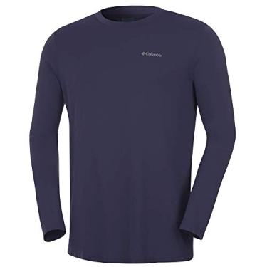 Camiseta Columbia Neblina Manga Longa Masculina - Azul P
