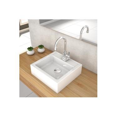 Cuba De Apoio Para Banheiro Compace Julia Q35w Quadrada Branca