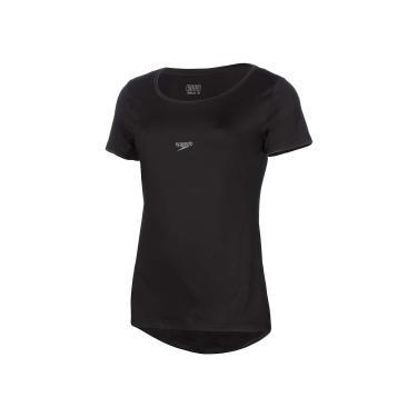 Speedo Basic Strech Camiseta de Manga Curta, Mulheres, Preto, M