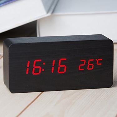 b426fc05263 Relógio Despertador Mesa Digital Tipo Madeira Com Sound Control 1299 (Preto)