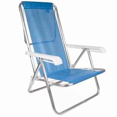 Cadeira de Praia Alumínio Reclinável Mor Azul 1026091