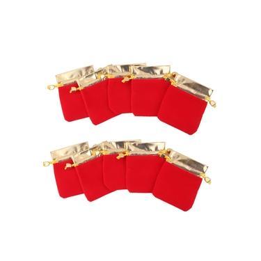 10x Bolsa de cordão de jóias de veludo Saco de presente vermelho Favor de casamento Cetim dourado