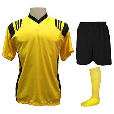 Fardamento Completo modelo Roma 20+1 (20 camisas Amarelo/Preto + 20 calções modelo Madrid Preto + 20 pares de meiões Amarelo + 1 conjunto de goleiro) + Brindes