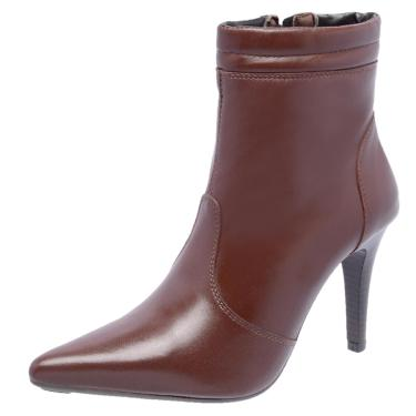 Bota Cano Curto em Couro Salto Fino DR Shoes Marrom  feminino