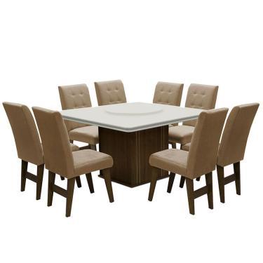 Conjunto de Mesa para Sala de Jantar com 8 Cadeiras Esparta-Dobue - Castanho / Branco off / Mascavo