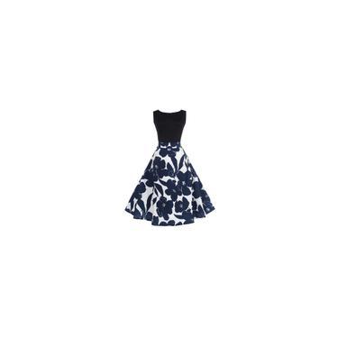 RainmallLady Vintage Flower Big vestido de noite vestido sem mangas Mulheres Expanso Vestido