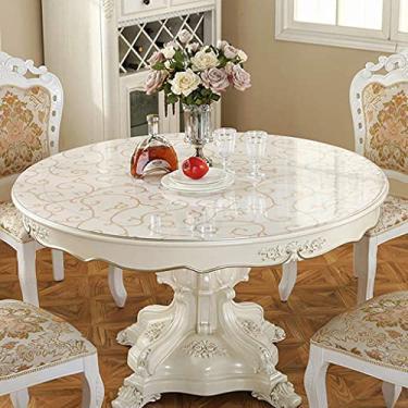 Imagem de Tampa de mesa transparente redonda de 80 cm, toalha de mesa de plástico transparente resistente, toalha de mesa transparente, protetor de PVC tapete de mesa anti-quente Espessura 1 mm