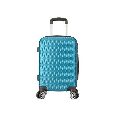 Mala de Bordo Viagem Pequena ABS - (55 x 35 x 22cm) C/ 4 Rodinhas 360º - (Regulamentação ANAC) Azul