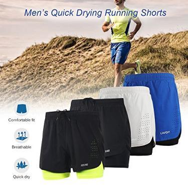 Honelife Arsuxeo Men's 2-in-1 Shorts de corrida Rápido Secagem Breathable Active Training Exercício Jogging Ciclismo Shorts com Longer Liner