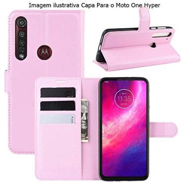 Capa Capinha Carteira 360 Para Motorola Moto One Hyper Tela De 6.5Polegadas Case Couro Flip Wallet - Danet (Rosa)