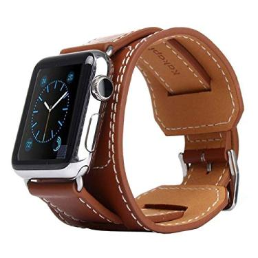 Pulseira de Couro Cuff para Apple Watch 40mm 38mm - Marca Ltimports (Marrom)
