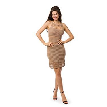 Imagem de Vestido Bella Store De Tricot Curto Cordão Recortes Vazados Feminino (Dourado, G)