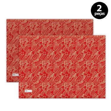 Imagem de Jogo Americano Mdecore Natal Estrelas 40x28 cm Vermelho 2pçs