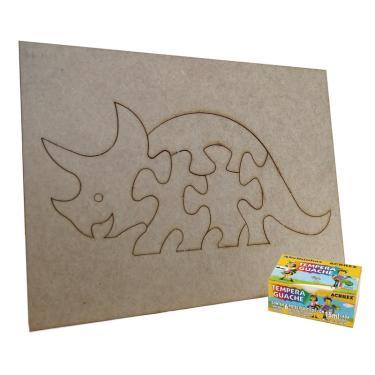Imagem de Quebra Cabeça Dinossauro para colorir  Monte & Eduque