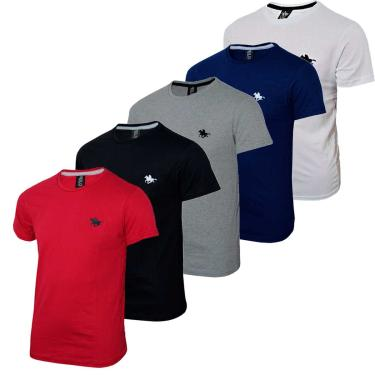 Kit  05 Camisetas Masculinas Blusa Camisa Slim Lisa Basic