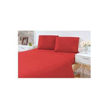 Jogo de lençol casal queen 03 peças Decora - microfibra 170 fios - jogo de cama queen com 2 fronhas cor vermelho