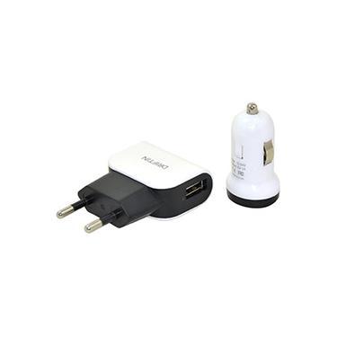 Kit de Carregadores 3 em 1 com Cabo Micro USB Branco e Preto - Driftin