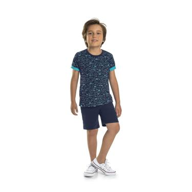 Camiseta Manga Curta Meia Malha Quimby, Azul, 10