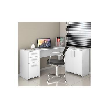 Mesa de Canto em L para Escritório com 2 Gavetas e 3 Portas Branco NT2005 Notável Móveis