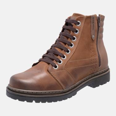 Bota Coturno Em Couro Mega Boots 6026 Taupe-chocolate  masculino