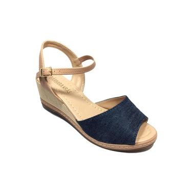 Sandália flat bárbara krás anabela jeans - azul