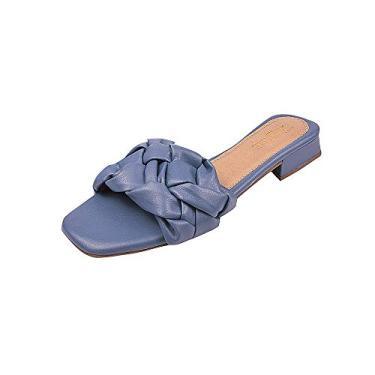 Sandália Tamanco Mule Tranças Dona Madame Tamanho:36;Cor:Azul