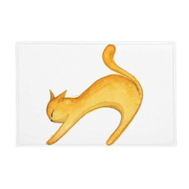 Imagem de DIYthinker Tapete para porta de banheiro com pintura de gato laranja Miaoji