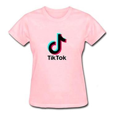 Baby Look Tik Tok Adulto Algodão Premium Tiktok 3 Cores (G, Rosa)