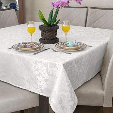Imagem de Toalha Mesa Quadrada Jacquard Branco 8 Lugares Buffet Festa