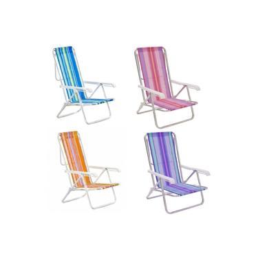 Cadeira de Praia em Aluminio Reclinavel 8 Posicoes Mor Cores Mistas