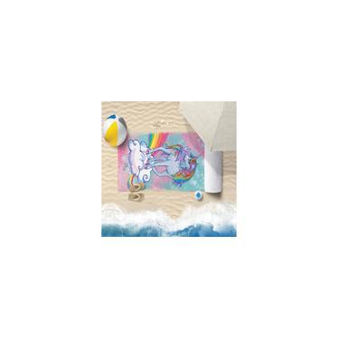 Imagem de Toalha De Praia 60Cm X 1,10M Infantil Anti Areia Unicornio - Bene Casa