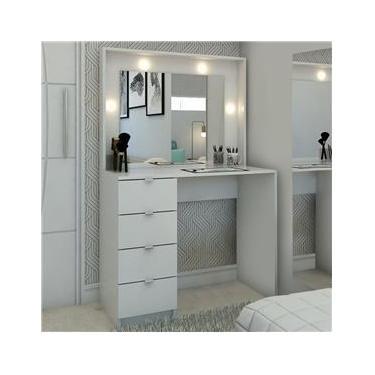Penteadeira Camarim São Francisco Com Espelho Branco - Pnr Móveis
