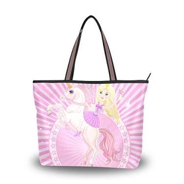 Bolsa feminina com alça superior de unicórnio de conto de fadas, Multicolorido., Large