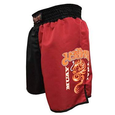 Calção Short Muay Thai - Dragon on Fire - Quadrado - Preto/Verm -Toriuk -