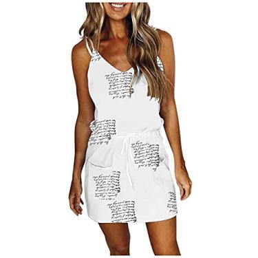 Imagem de Vestido feminino casual degradê com estampa tie-dye, sem mangas, gola V, vestido de verão rodado, A8 - Branco, P