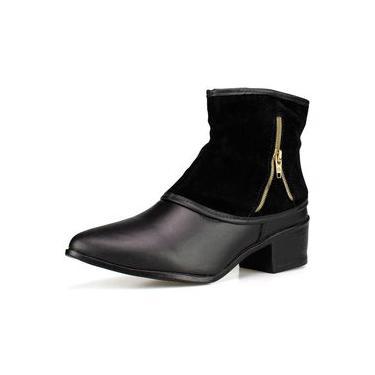 Bota Feminina Preta Cano Curto Ankle Boot Salto Baixo